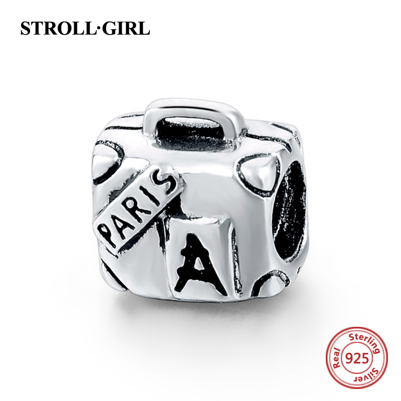 925 Sterling Silver Paris Suitcase Pandora Beads Charm Fit Pandora bracelets Pendant Charms Antique Beads Jewelry gift