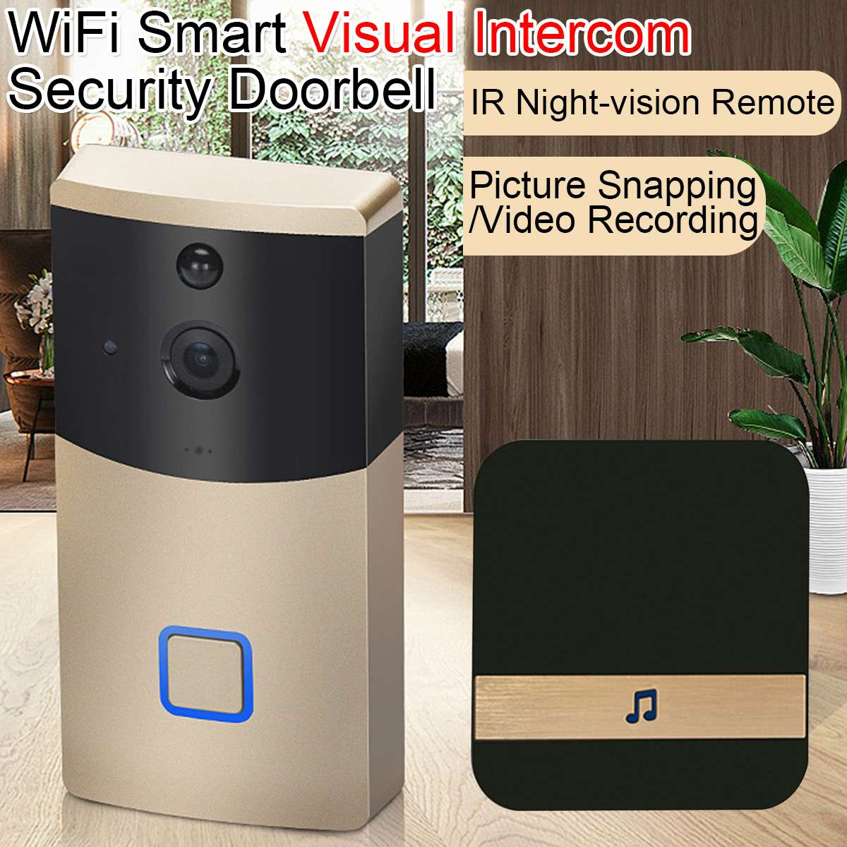 Interphone vidéo sans fil WiFi vidéo sonnette caméra 1080 P Audio bidirectionnel infrarouge Vision nocturne APP contrôle Via Smartphone
