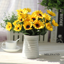 Melsnajsd 7 Heads Plastic Sunflower Artificial Flower Fake Bouquet Simulation Flowers Decorate Party Wedding Decoration