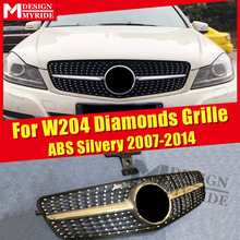For Mercedes C Class w204 Silver Chrome Sport C63 look Front grill Grille Diamonds C180 C200 250 grills With Borders 07-14