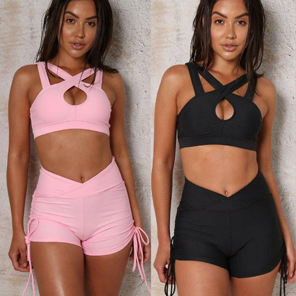 2 Pcs Frauen Set Gym Sportwear Anzug Fitness Kleidung Workout Sommer Casual Frauen Mädchen Outfits