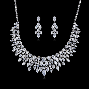 Gorgeous Crystal CZ Cubic Zirconia Bridal Wedding Drop Necklace Earring Set for Women Accessories CN10184