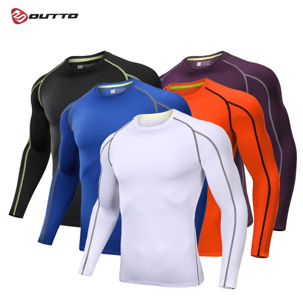 Outto Men's Cycling Base Layers Long Sleeves Compression Quick Dry Elastic Slim Jogging Training Breathable Bicycle Underwear