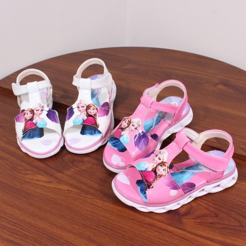 Image 2 - 2018  Elsa Sandals Princess Elsa Anna Shoes Print Cartoon Summer Toddler Girl Beach Shoes Ice Snow Queen New Fashion Girl sandalSandals   -