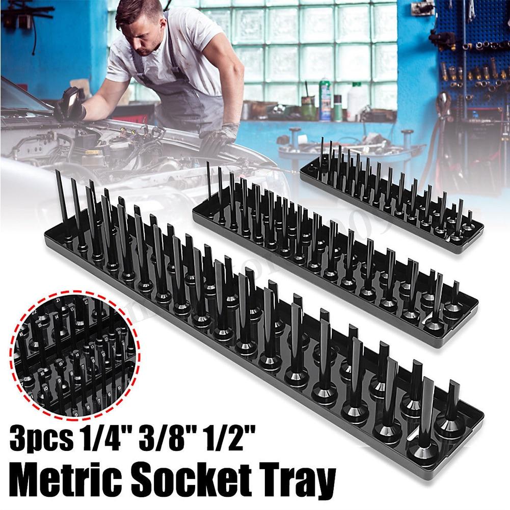 3PCS/Set 1/4'' 3/8'' 1/2'' Metric SAE Socket Trays Rack Holder Storage Tool