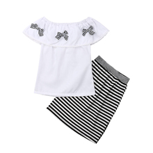 Kids Girl Clothing Baby Girl Bow Top T-shirt+Striped Skirt Clothes Party Dress Girls Outfit Girls Clothing Set Children Clothes kids toddler girl summer clothing set ruffle off shoulder t shirt top bow skirt tutu dress stripe baby clothes outfit