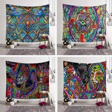 Psychedelic Mandala Tapestry Wall Hanging Geometric Hippie Boho Colors Printed Indian Tapestries Art Decorative Bohemian Carpet