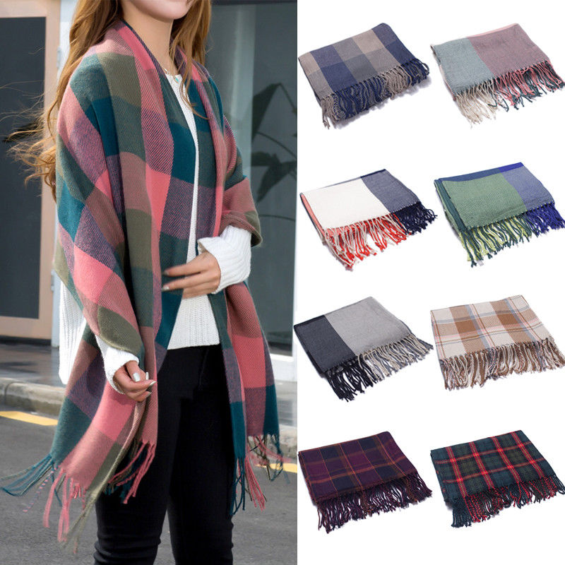 Hirigin Women Long Cashmere Winter Wool Blend Soft Warm   Scarf     Wrap   Shawl Plaid   Scarf