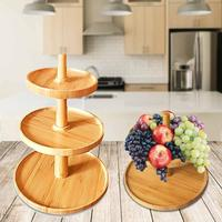 Multi layer Cake Stand Bamboo Tray Fruit Platter Cheese Snack Display Rack Storage Tray Desktop Organizer Home Decoration
