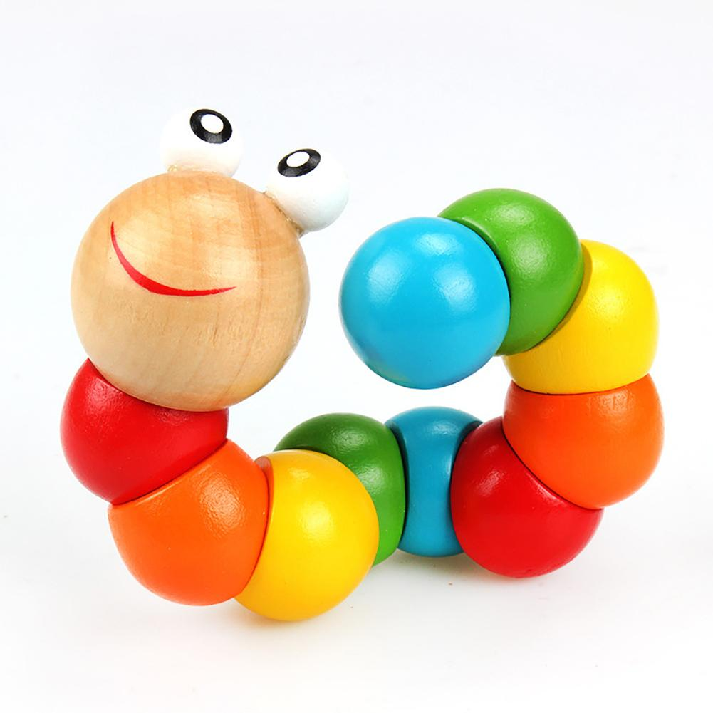 1pc Colorful Wooden Worm Puzzle Kids Early Learning Educational Toy Finger Game