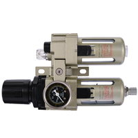 Aluminum Alloy Air Compressor Oil Lubricator Mayitr Water Oil Separator Trap Filter Regulator + Pressor Gauge
