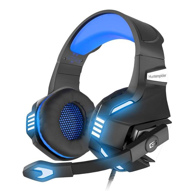 Hunterspider Stereo Gaming Headset for PS4 Xbox One, Over Ear Headphones  with Noise Isolating Mic, LED Light, Volume Control f