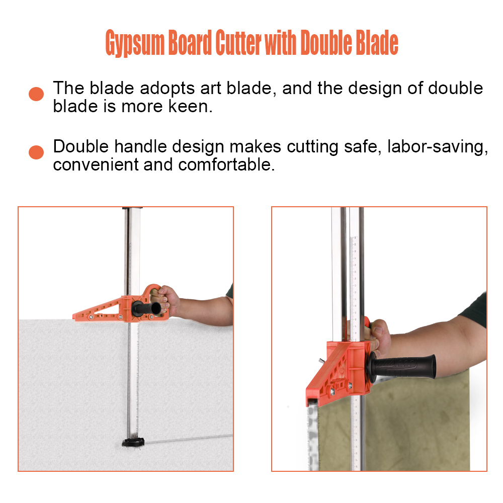 High Accuracy Portable Cutter 20-600mm Gypsum Board Tools Cutter Push Drywall Cutting Artifact Tool With Double Blade