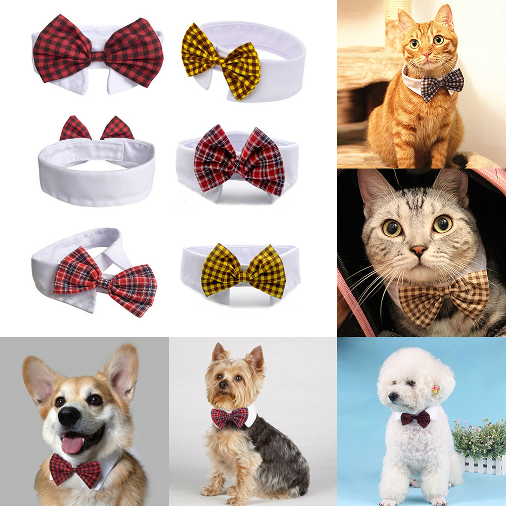 Adjustable Velcro Pet Bow Tie Plaid Necktie For Dogs Cats Pets Clothing Puppy Dog Ties Decorations Ornament Cat