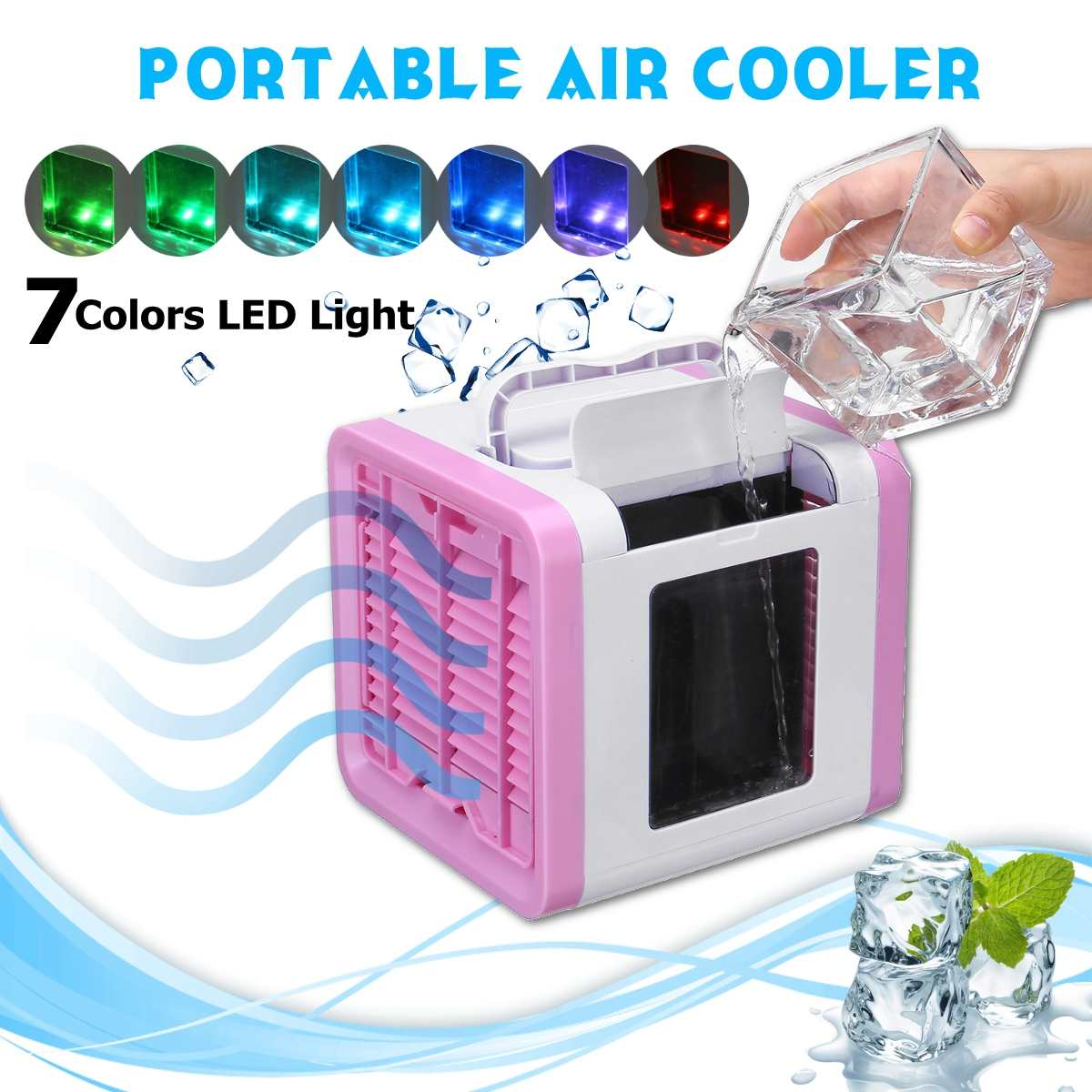 Portable USB Mini Air Conditioner Humidifier Purifier 7 Colors Light Desktop Air Cooling Fan Air Cooler Fan for Office HomePortable USB Mini Air Conditioner Humidifier Purifier 7 Colors Light Desktop Air Cooling Fan Air Cooler Fan for Office Home