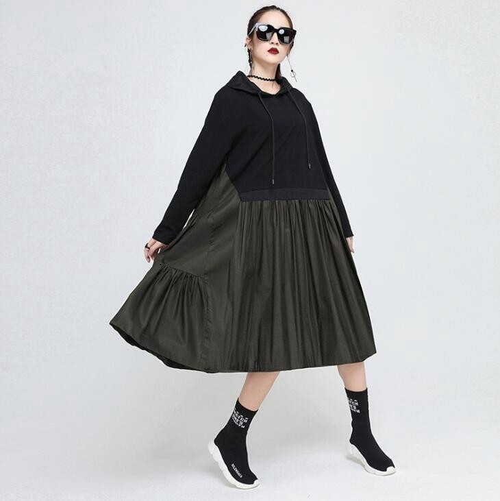 1050 Spring Autumn Black Ruffle Dresses Women Split Joint Tide England Style Hooded Large Size Loose Streetwear Personality