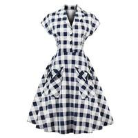 Women Vintage Dress 1950 S Navy Blue Currant Elegant Lines Retro Dresses With Short Sleeves Bag Cotton Evening Vintage Dress
