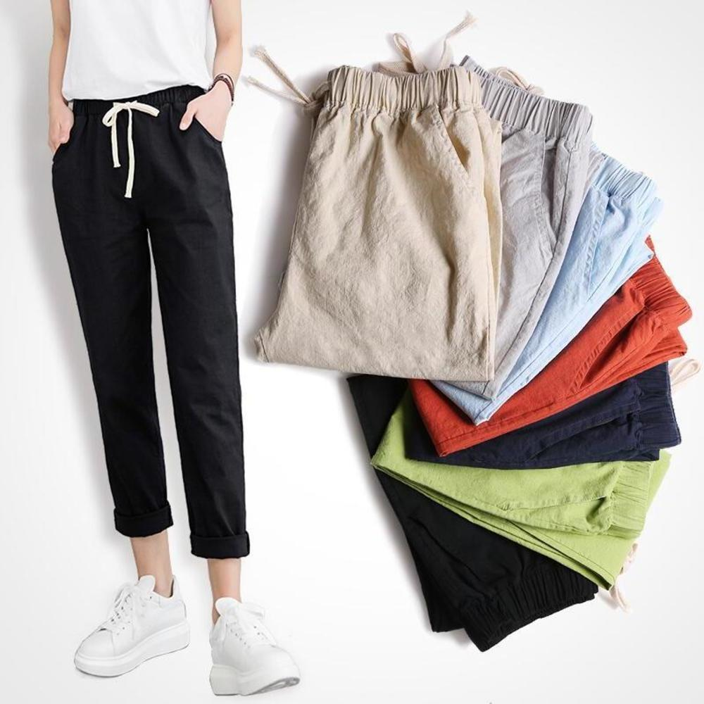Summer Cotton Linen   Pants   For Women Trousers Loose Casual Elastic Waist Solid Color Female Straight   Pants     Capri