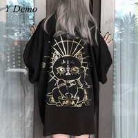 Gothic Style Lucky Cat Printing Oversize T shirt Women Short Sleeve Tee Aesthetic Korean Clothes
