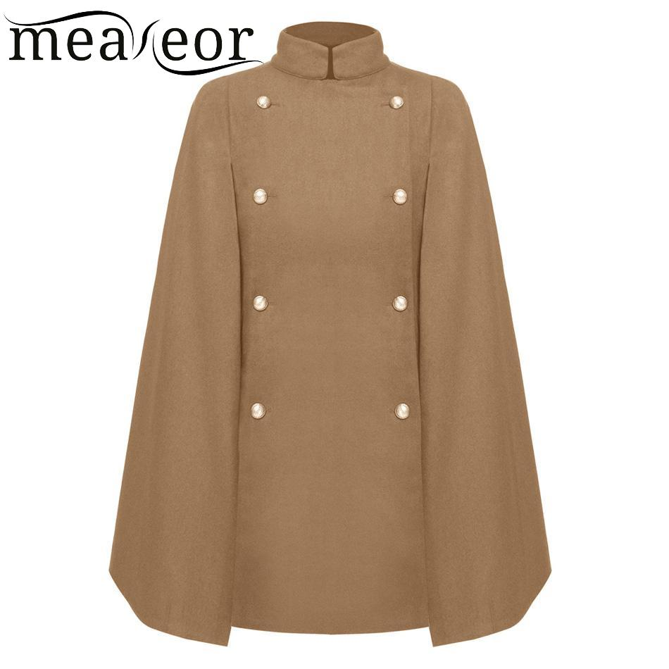 Azbro Womens Winter Modern Wool Blend Hooded Cape Cloak Coat