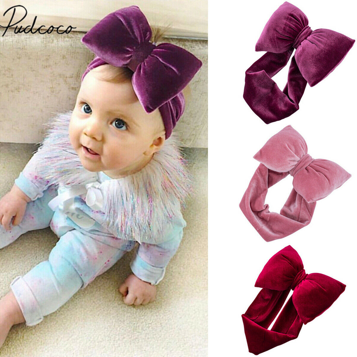 Cute Newborn Baby Girl Toddler Kids Bow Headband Hair Band Headwear Photo Props