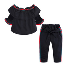 VTOM Summer Baby Kids Fashion Sets Girls Short Sleeve Tops+Pants 2pcs Clothing Set SK45