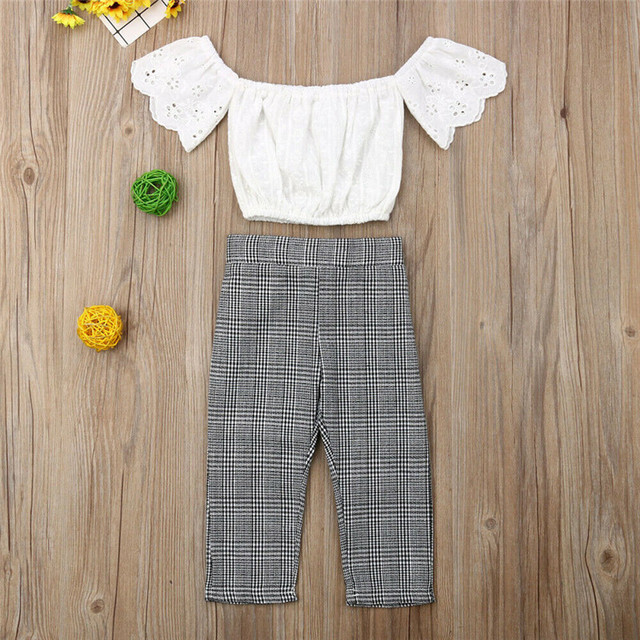 2019 baby girl clothes set lace crop top vest+bow lace up plaid pants set baby clothes girl summer clothing 2pcs 5