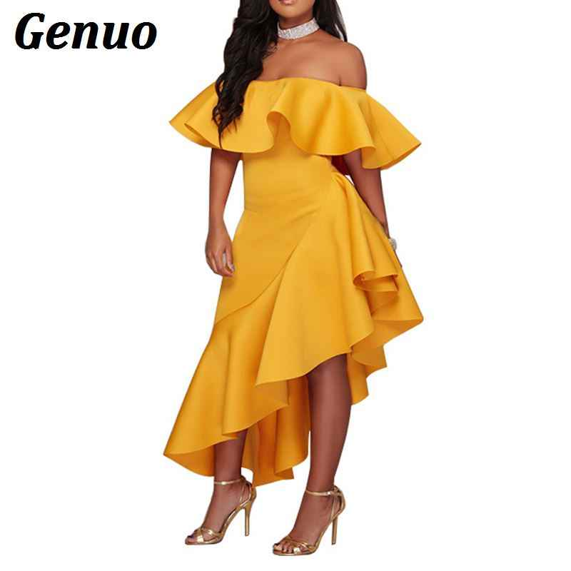 ... Genuo Solid Yellow Strapless Ruffle Knee Length Evening Gown Elegant  Bodycon Maxi Party Dresses Robe Long ... 3b50a62b21a2
