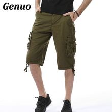 Men 2018 Genuo Fashion Beach Shorts Mens Casual Pocket Military Knee Length Pants Male Cargo Overalls Short masculino