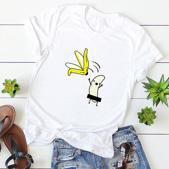 Casual Cotton Funny T-Shirt Women Naked Banana Cartoon Print Short Sleeve O-Neck T Shirt Women Cute Tee Shirt Femme Summer Tops 2