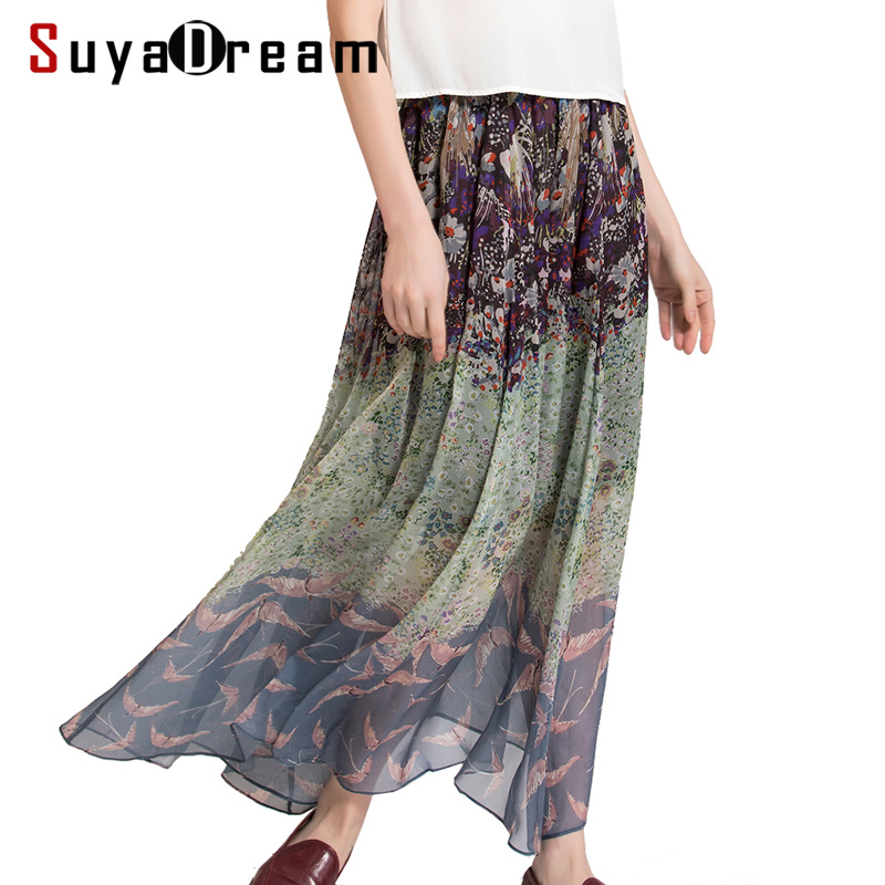 Women Pleated Long skirt 100 Real Silk Floral Printed Ankle length Skirts 2018 Spring New