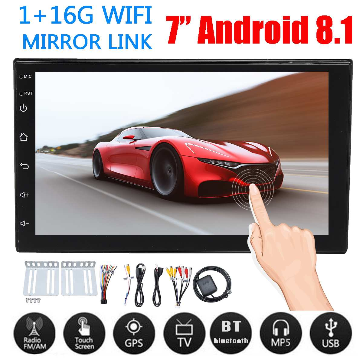 Android 8.1 Universal Car Stereo 7 inch 2DIN Quad Core WIFI bluetooth GPS FM Radio Video MP5 Player Car Multimedia PlayerAndroid 8.1 Universal Car Stereo 7 inch 2DIN Quad Core WIFI bluetooth GPS FM Radio Video MP5 Player Car Multimedia Player