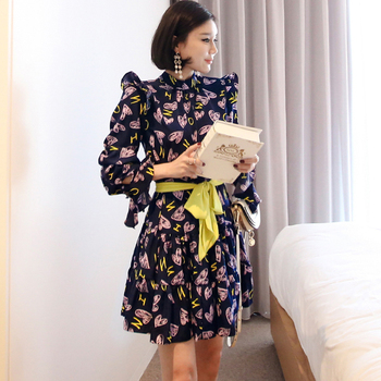 CINESSD Sexy Elegant Flower Print for Women halloween Dresses Long Sleeve Polyester Stand Neck Casual Party Vestidos Plus Size 1