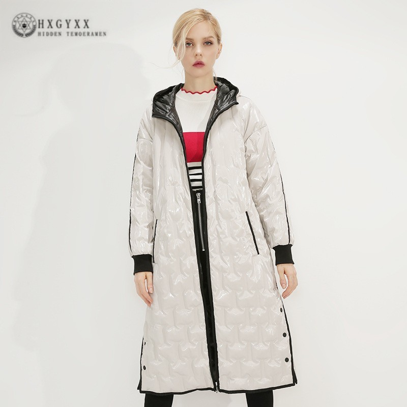 2019 Ukraine Parka Vintage Casual Long Winter Jacket Women Tops White   Down     Coat   Female Hooded High Quality Overcoat J417