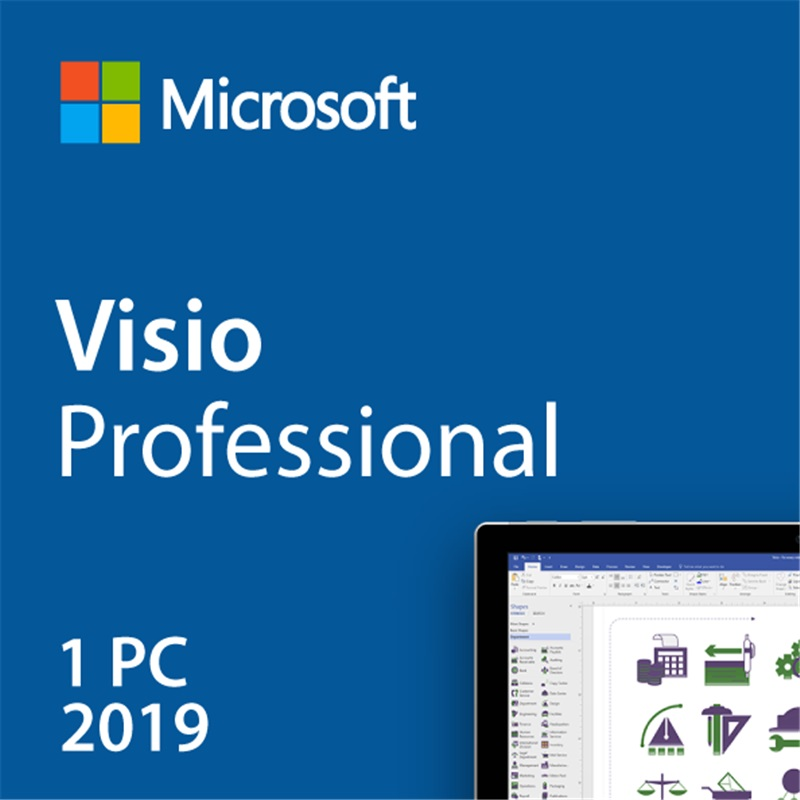 Microsoft Office Visio Professional 2019 For Windows Digital Delivery License 1 User