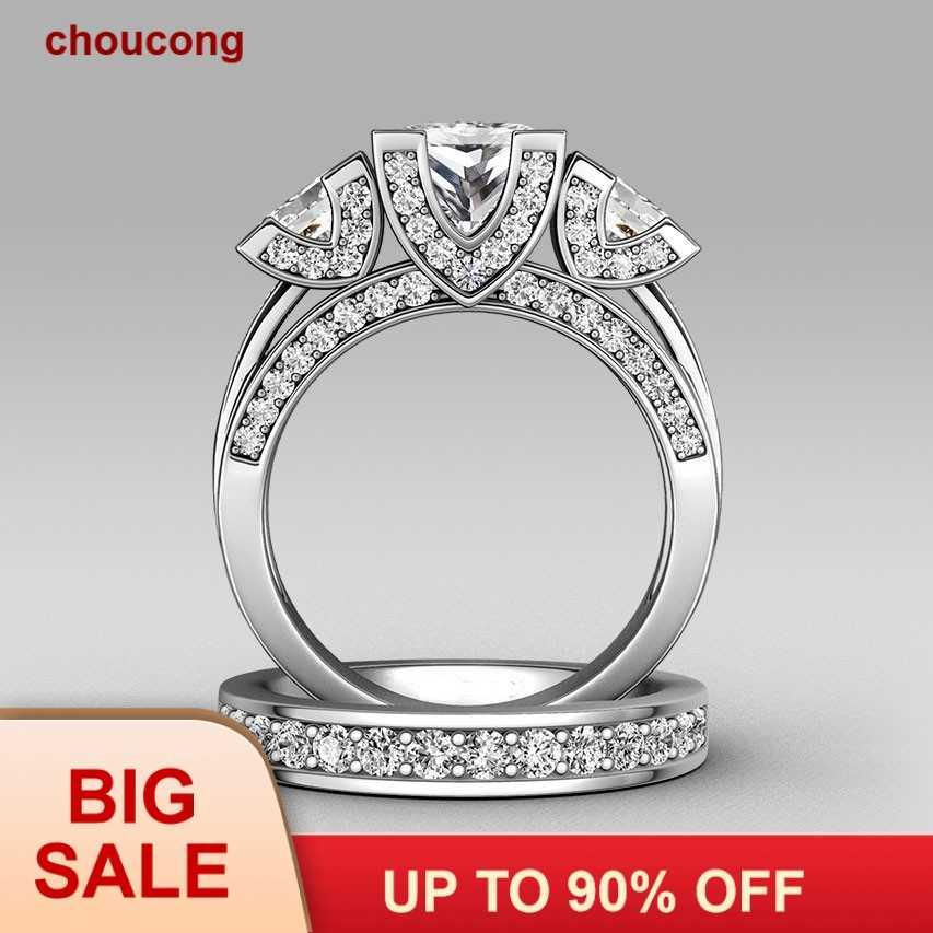 Choucong Công Chúa cắt Ba-đá 8ct Đá 5A Zircon đá 925 Sterling Silver bạc Phụ Nữ Engagement Wedding Nhạc Chuông set