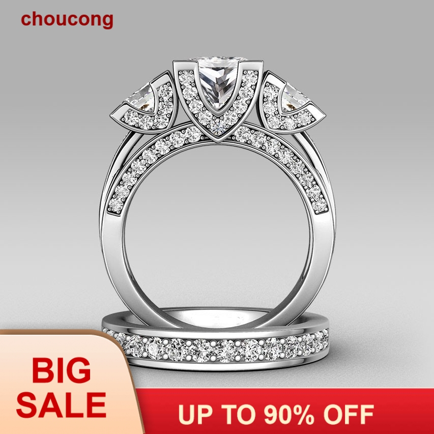 Choucong Princess cut Tiga batu 8ct Batu 5A Zircon batu 925 Sterling silver Wanita Engagement Wedding Band Cincin set