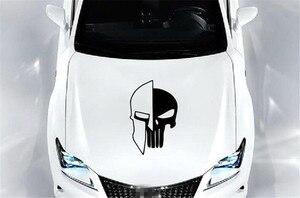 Image 4 - 1 ピース黒 60 × 38 センチメートルパニッシャー skull ビニール車の自動車ドアフード車のステッカー