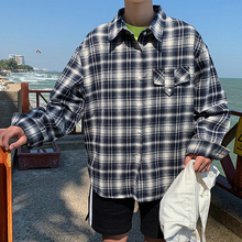 цена 2019 Fashion leisure Best The new listing plaid shirt Thin Long male retro literary cardigan youth blue streetwear Free shipping онлайн в 2017 году