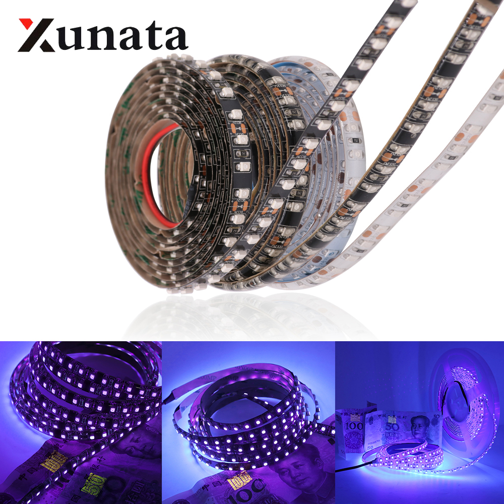 Led Strips Dc12v Uv Led Strip Light 2835 Smd 60leds/m Ip65 Waterproof Ultraviolet Ray Led Diode Ribbon Purple Flexible Tape Lamp 5m/roll