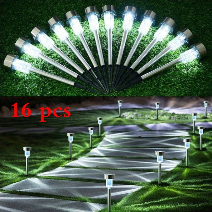 Us 37 12 42 Off Solar Pathway Lights 16 Pack Led Walkway Stainless Steel Lawn Outdoor Waterproof Driveway Garden Lamp In