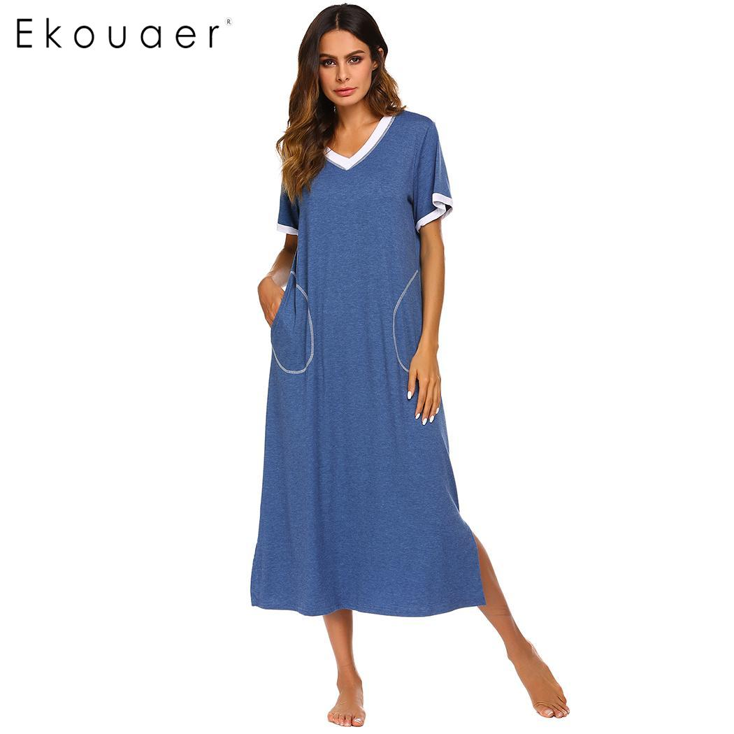 Ekouaer Long Night Dress V Neck Chemise Sleepshirts Short Sleeve Women Loose Sleep Dress Pocket Nightgowns Sleepwear