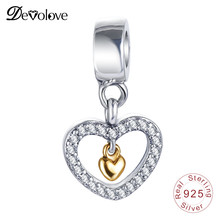 Devolove Love Forever In My Heart Charms Bead Fit Pandora Bracelet Pendant 925 Sterling Silver Fine Making 0319 Dropshipping(China)
