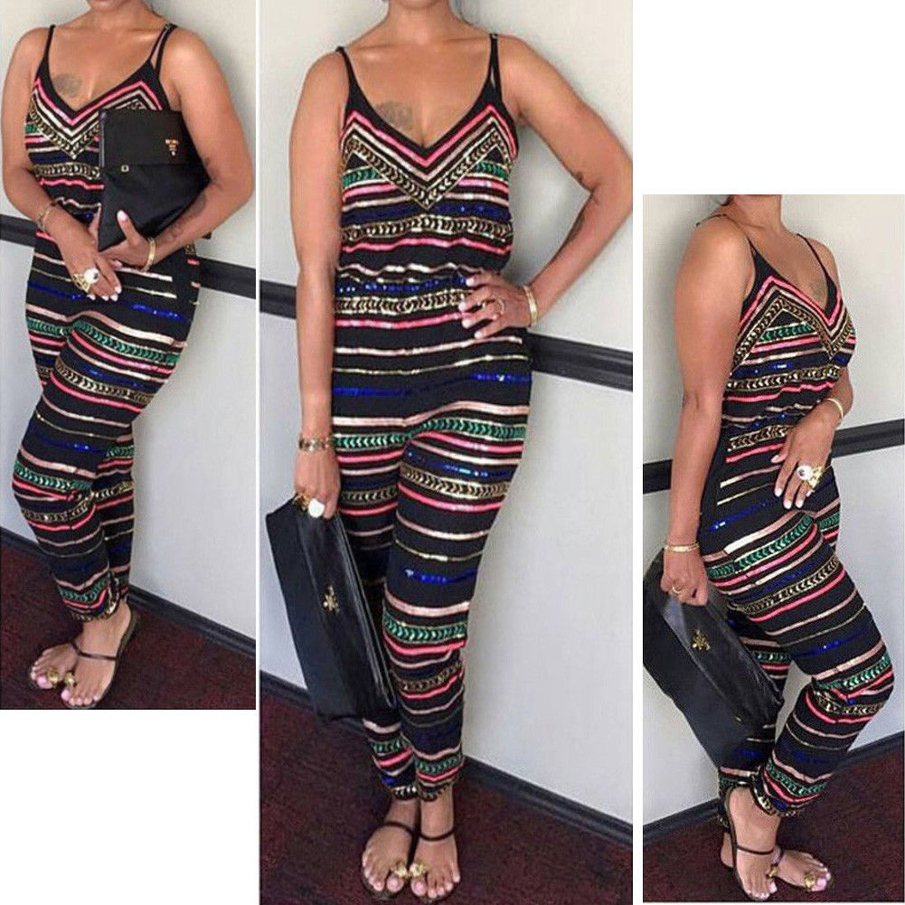 Plus Size Fashion Women Laides Stripe Sleeveless V-neck Romper Trousers Holiday New Summer Beach Print Jumpsuit