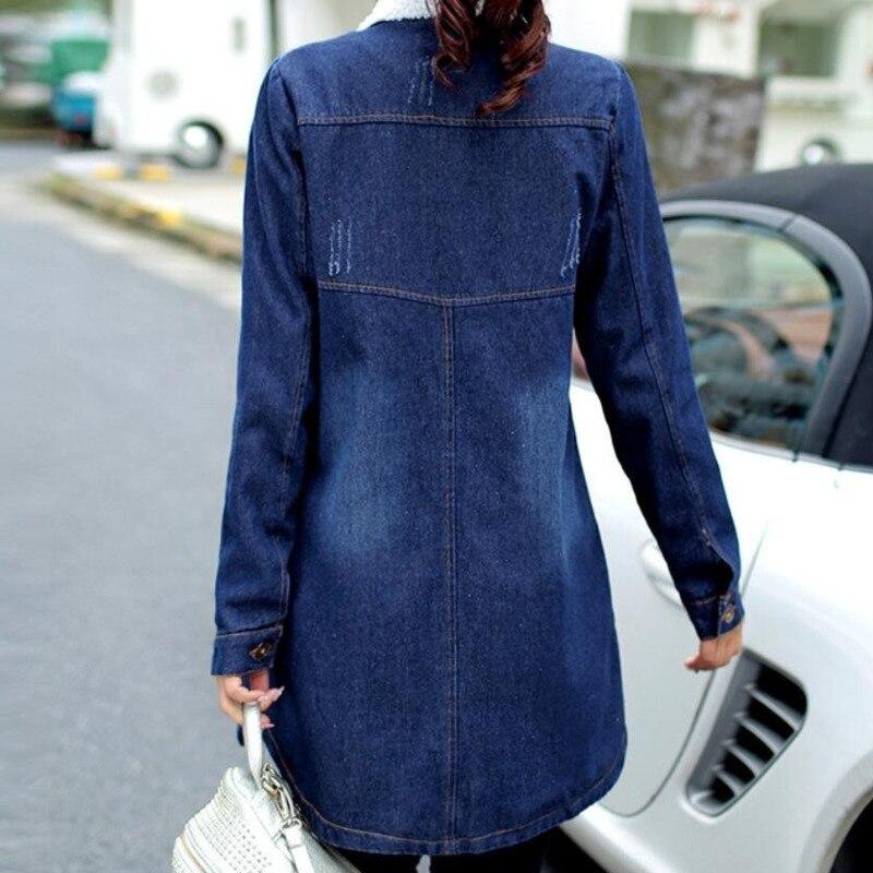 3318 Autumn Winter Jeans Jacket Women With Fur Warm Plus Size 4XL 5XL Slim Denim