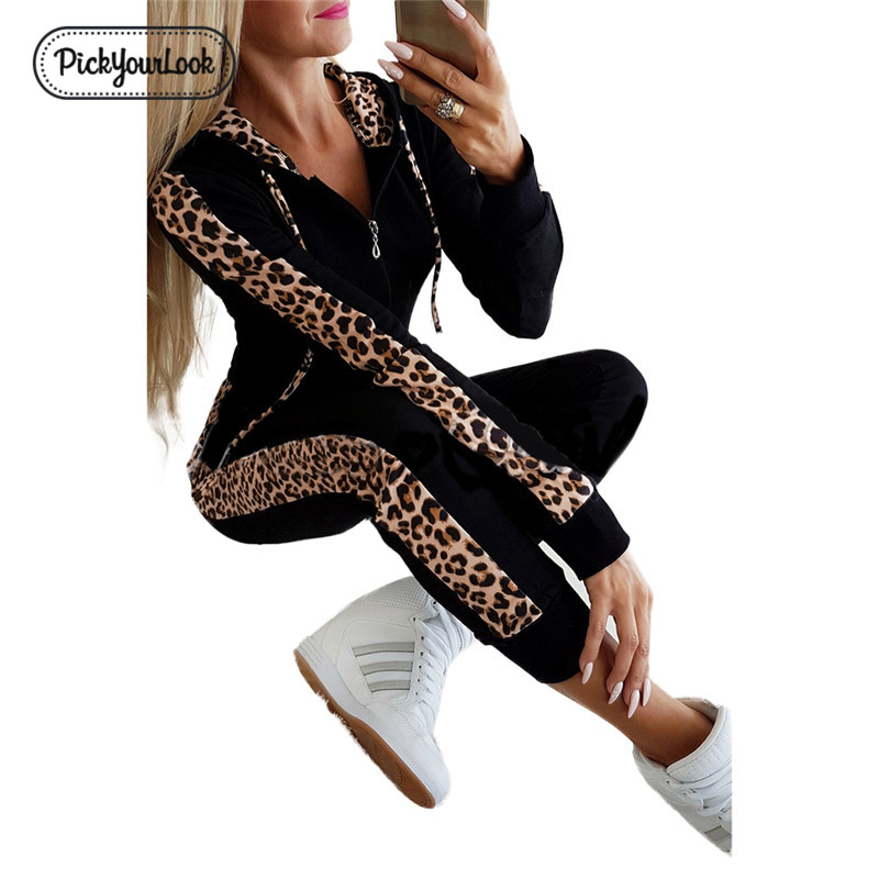 Leopard Women Clothing Set Long Sleeve Zipper Hooded Ladies Clothes Autumn Winter Patchwork Female Outfits Set Fall D40