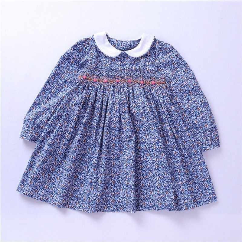 5ac7b25cc spring girl smock dress long sleeve baby girl clothes embroidery Party kids  flower dresses For Girls
