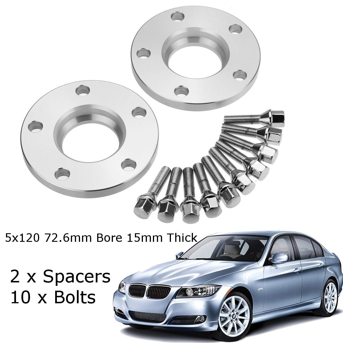 Car 15mm Wheel Spacer Adapter 5x120mm Tire Spacer Aluminum For BMW 1 3 5 6 7