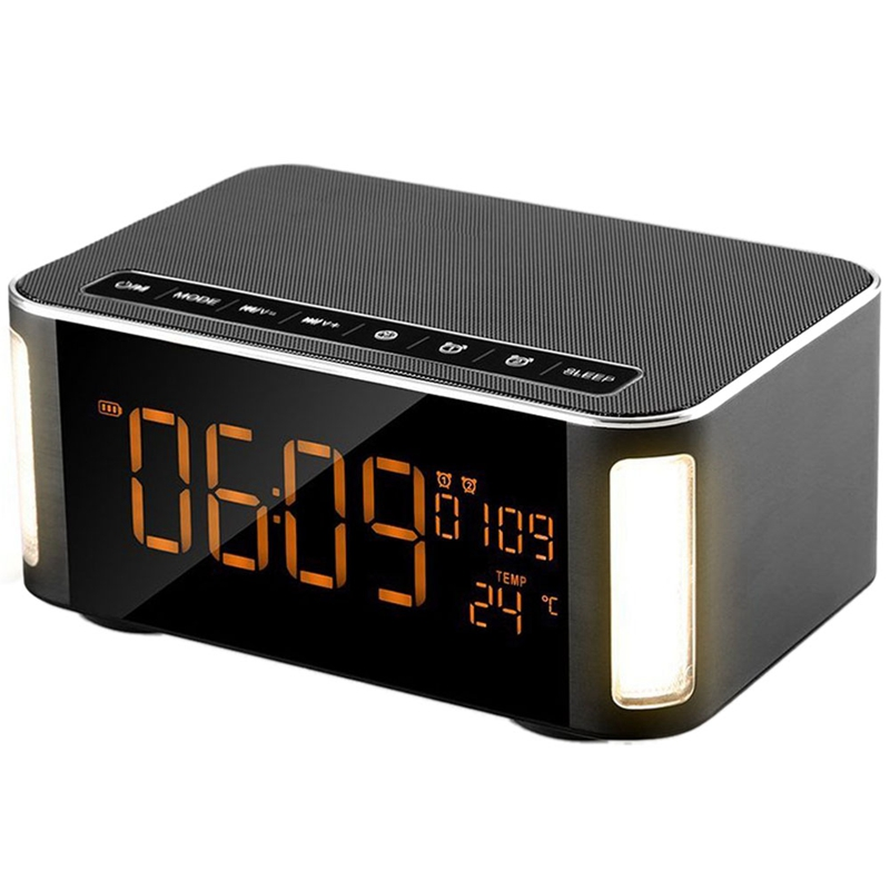 Wireless Bluetooth Speaker,Speaker,Alarm Clock Bluetooth Speaker With Led,Fm Radio,Hands-Free,Two Passive Subwoofer,Time,TempeWireless Bluetooth Speaker,Speaker,Alarm Clock Bluetooth Speaker With Led,Fm Radio,Hands-Free,Two Passive Subwoofer,Time,Tempe