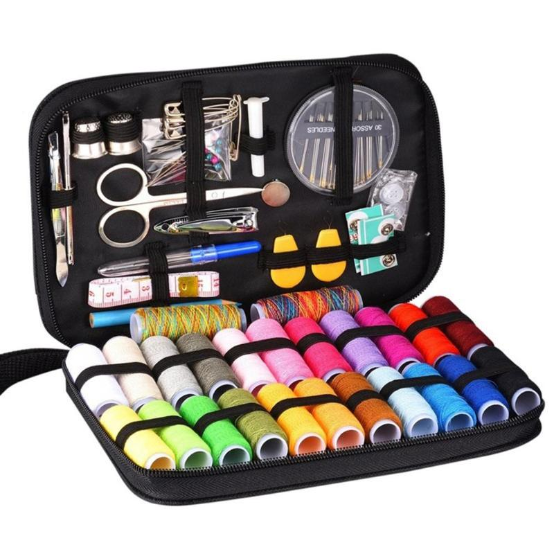 98pcs Portable Sewing Box Kit Travelling Quilting Stitching Embroidery Sewing Threads Needle Scissors Ruler Sewing Accessories